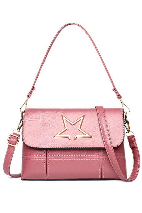 Leather Star Pattern Mini handbag Shoulder Bag - Pink