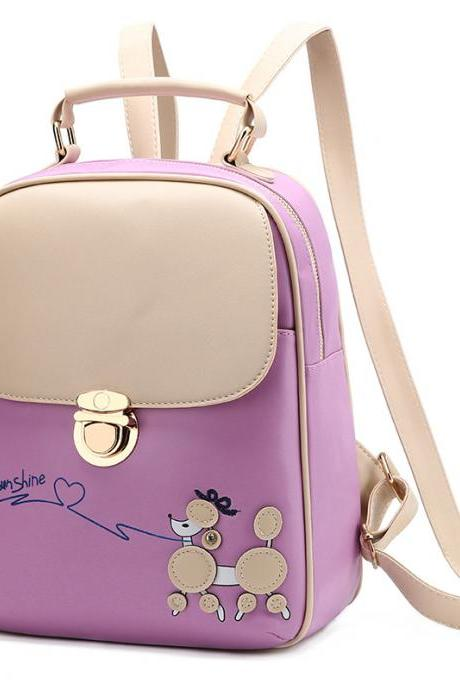 Cute PU Leather Backpacks For Women - Purple