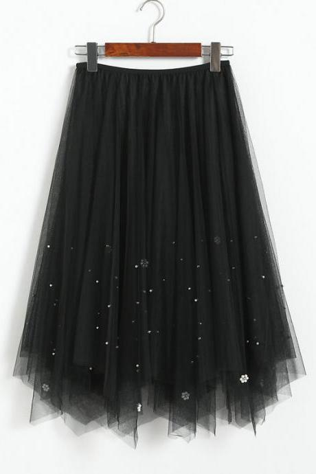 Elegant Beading High Waist Skirt - Black