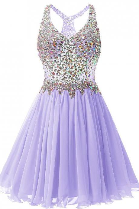 Luxurious V Collar Beads Sleeveless Party Short Dress - Purple