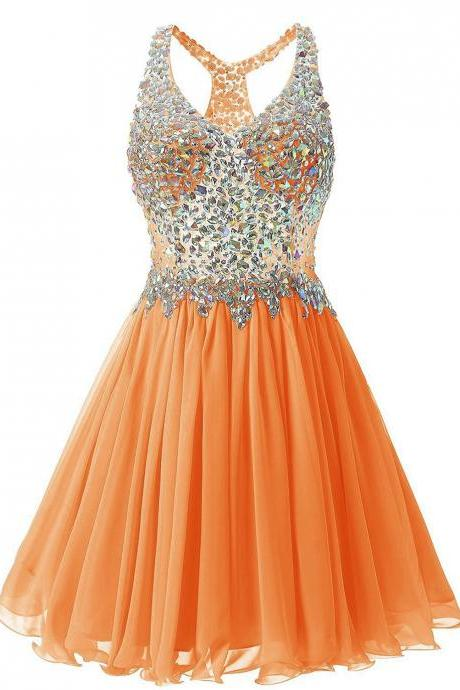 Luxurious V Collar Beads Sleeveless Party Short Dress - Orange