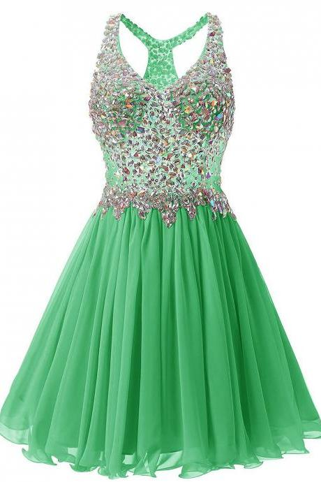 Luxurious V Collar Beads Sleeveless Party Short Dress - Green