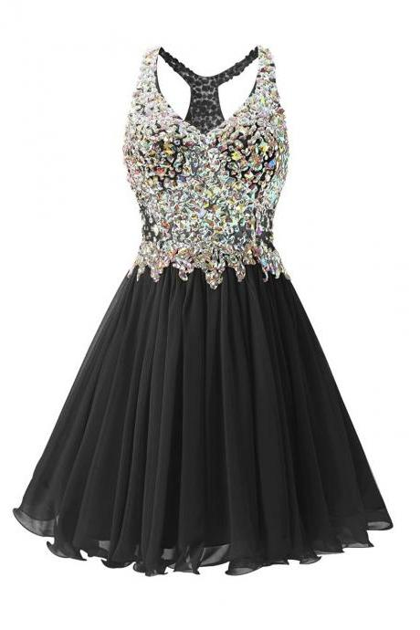 Luxurious V Collar Beads Sleeveless Party Short Dress - Black