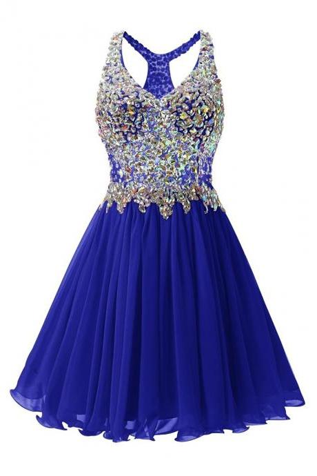 Luxurious V Collar Beads Sleeveless Party Short Dress - Blue