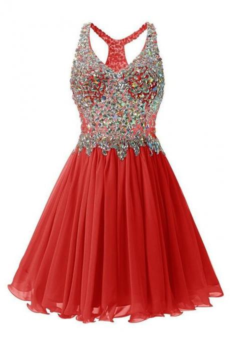 Luxurious V Collar Beads Sleeveless Party Short Dress - Red