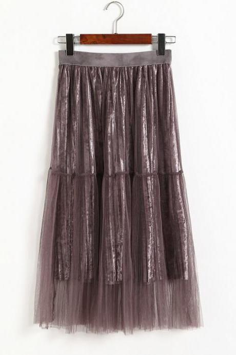 New Fashion Women Casual Gauze A Line Skirt - Purple