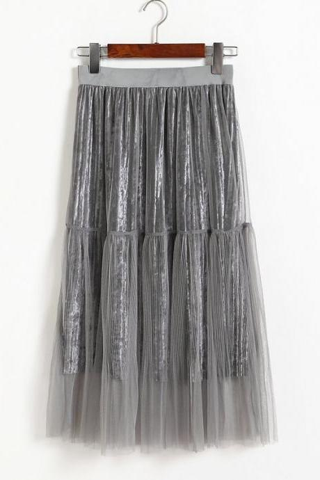 New Fashion Women Casual Gauze A Line Skirt - Grey