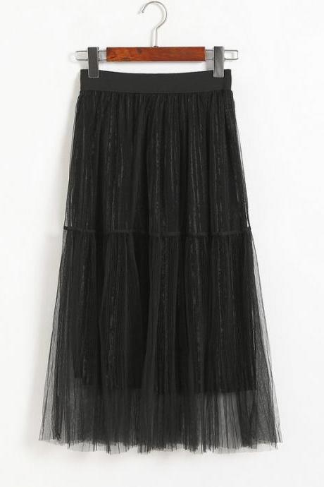 New Fashion Women Casual Gauze A Line Skirt - Black