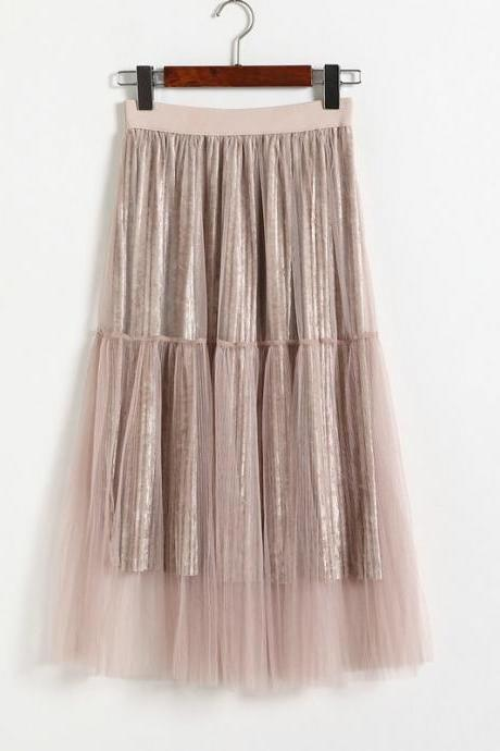 New Fashion Women Casual Gauze A Line Skirt - Light Pink