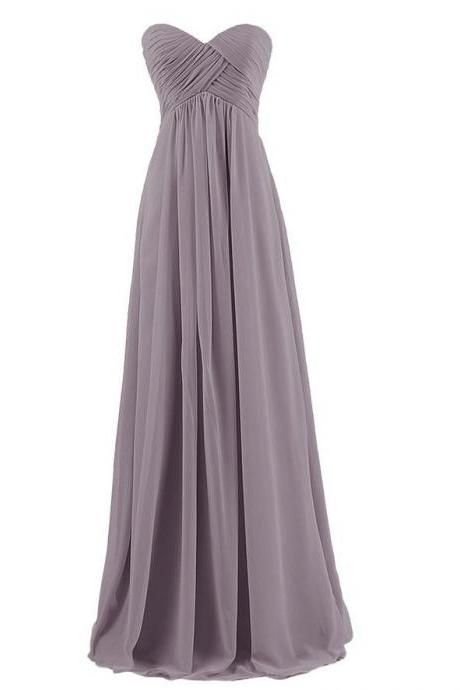 Strapless Plus Size Bridesmaid Dresses Long For Wedding Guests Sister Party Dress Chiffon Prom Dress - Grey