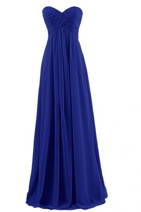 Strapless Plus Size Bridesmaid Dresses Long For Wedding Guests Sister Party Dress Chiffon Prom Dress - Blue