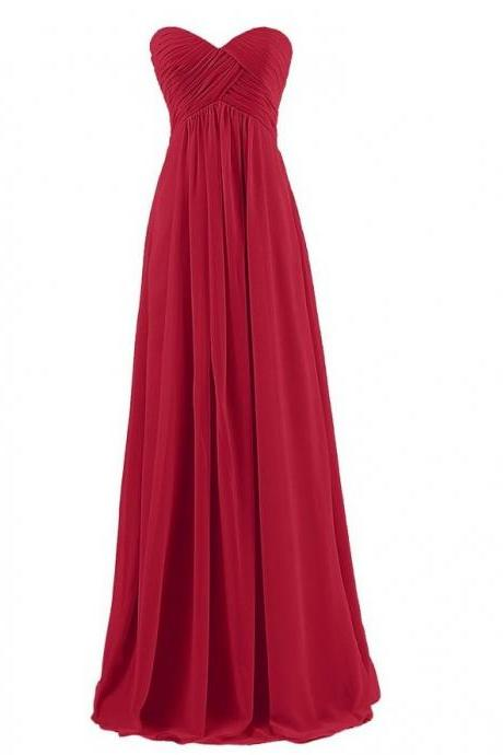 Red Chiffon Ruched Sweetheart Floor Length Bridesmaid Dress, Evening Dress