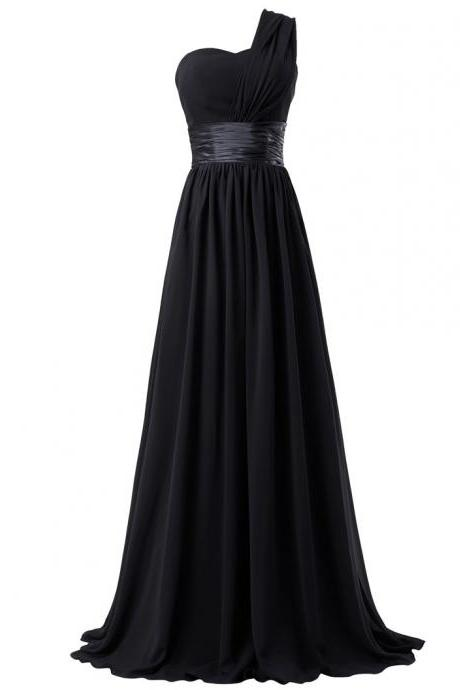 Black Chiffon One-Shoulder Sweetheart Floor Length A-Line Bridesmaid Dress