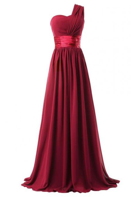 Women Elegant Fashion One Shoulder A Line Chiffon Long Bridesmaid Dress - Wine Red