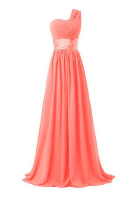 Women Elegant Fashion One Shoulder A Line Chiffon Long Bridesmaid Dress - Watermelon Red