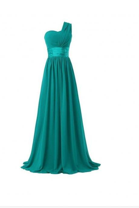 Women Elegant Fashion One Shoulder A Line Chiffon Long Bridesmaid Dress - Green