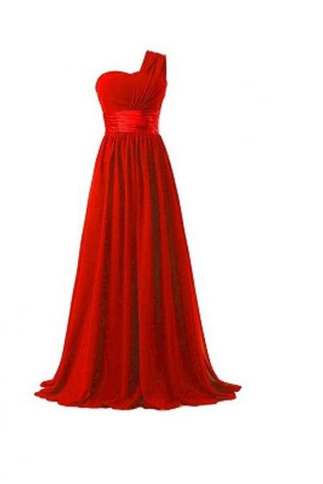 Women Elegant Fashion One Shoulder A Line Chiffon Long Bridesmaid Dress - Red