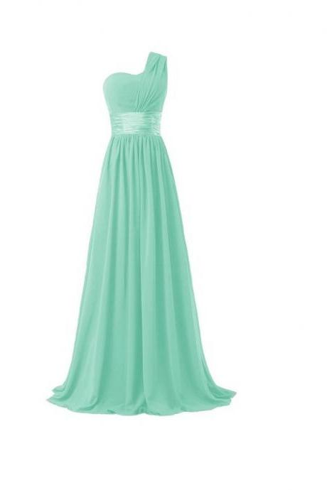 Women Elegant Fashion One Shoulder A Line Chiffon Long Bridesmaid Dress - Light Green