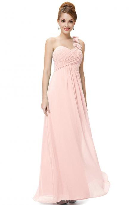Fashion Women Flower One Shoulder Chiffon Padded Long Bridesmaid Dress - Pink