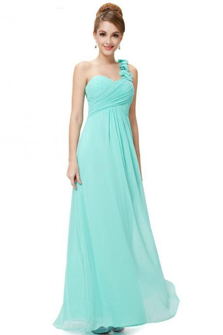 Fashion Women Flower One Shoulder Chiffon Padded Long Bridesmaid Dress - Light Blue