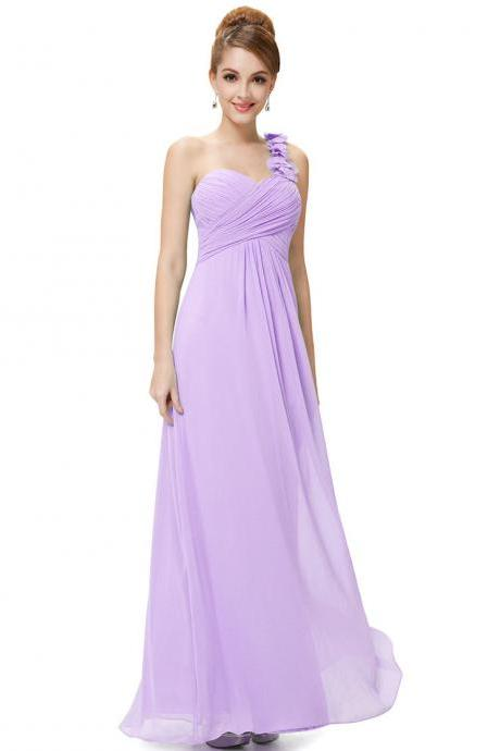 Fashion Women Flower One Shoulder Chiffon Padded Long Bridesmaid Dress - Light Purple