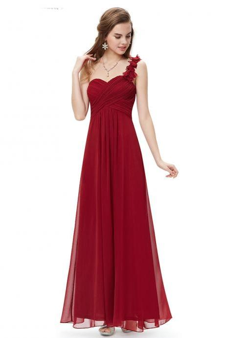 Red Floral Appliqués One Shoulder Ruched Sweetheart Chiffon Long A-Line Bridesmaid Dress, Evening Dress