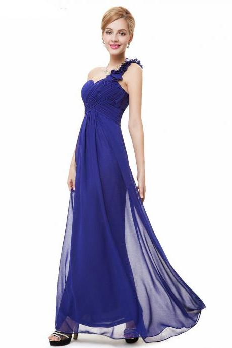 Fashion Women Flower One Shoulder Chiffon Padded Long Bridesmaid Dress - Blue