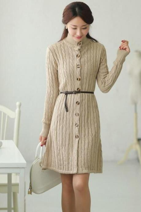 Elegance Womens Winter Autumn Knitted Long Sweater Dress - Beige