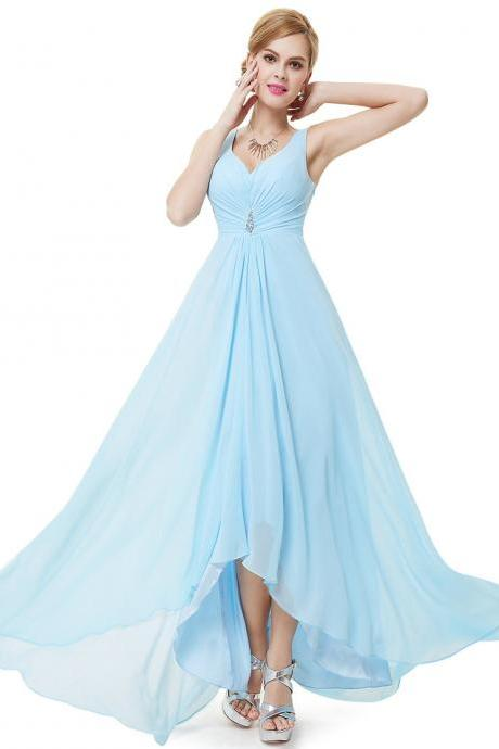 Formal Bridesmaid Dresses Double V Neck Rhinestones Long Wedding Dresses - Light Blue