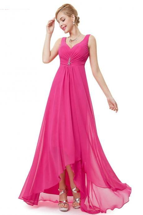 Formal Bridesmaid Dresses Double V Neck Rhinestones Long Wedding Dresses - Hot Pink