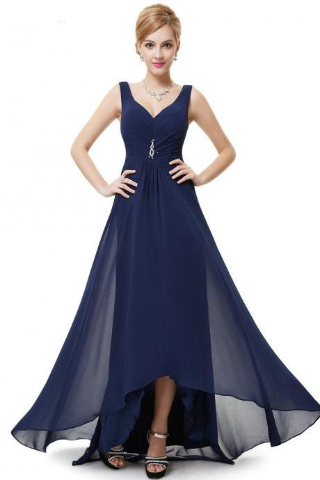 Formal Bridesmaid Dresses Double V Neck Rhinestones Long Wedding Dresses - Dark Blue