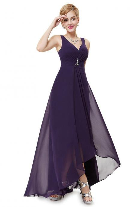 Formal Bridesmaid Dresses Double V Neck Rhinestones Long Wedding Dresses - Dark Purple