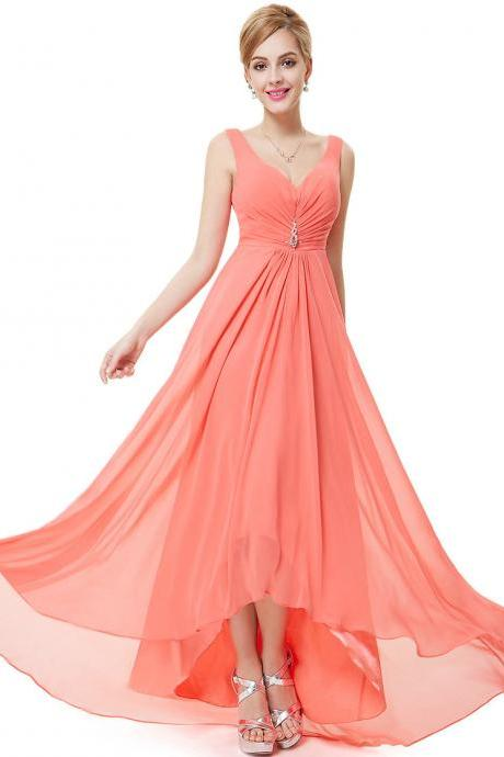 Formal Bridesmaid Dresses Double V Neck Rhinestones Long Wedding Dresses - Watermelon red