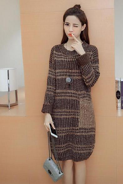 Cute Knitted Round Neck Sweater Dress - Red