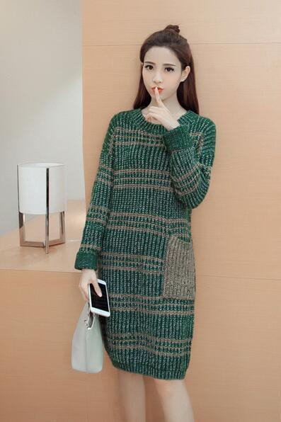 Cute Knitted Round Neck Sweater Dress - Green