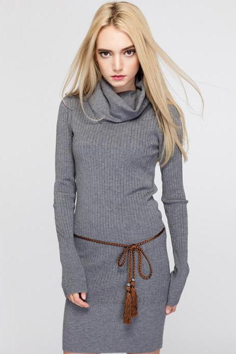 Stylish Knitted Long Sleeve Bodycon Sweater Dress (Without Belt) - Grey