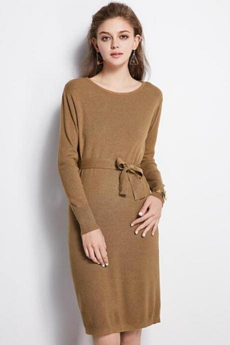 Bateau Neck Long Cuffed Sleeves Above Knee Sweater Dress Featuring Bow Accent Belt
