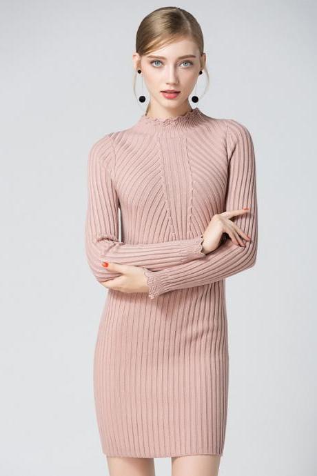 Pink Ribbed Knit Mock Neck Long Sleeves Short Sweater Dress
