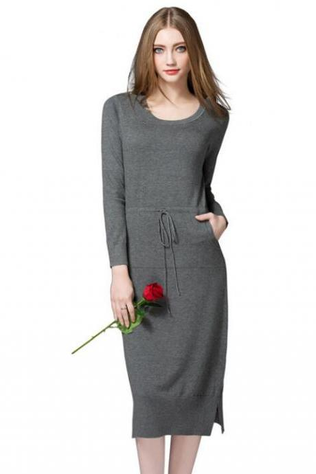 New Warm Knit Women Sweater Dress Solid Autumn Winter Loose Pockets Dress - Dark Grey