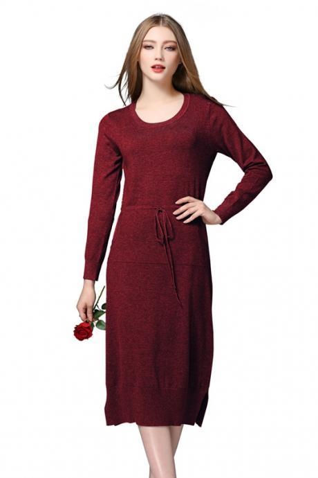 New Warm Knit Women Sweater Dress Solid Autumn Winter Loose Pockets Dress - Wine Red