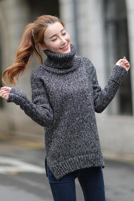 Turtleneck Knitted Pullover Sweater - Black