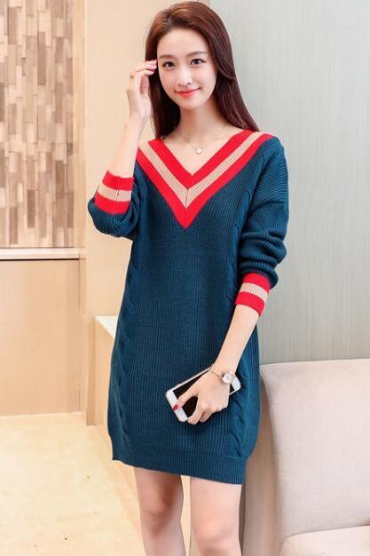 V Neck Knitted Pullover Long Sweater