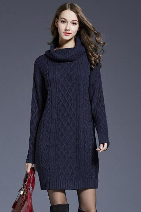 Navy Blue Cable Knitted Turtleneck Long Cuffed Sleeves Short Sweater Dress