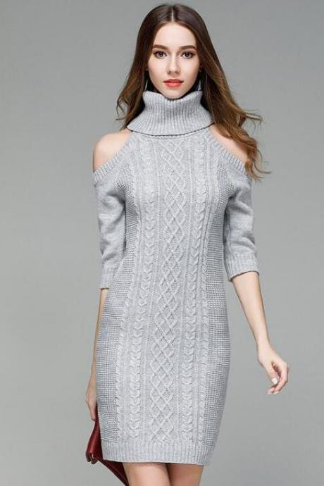 Women Autumn Winter Off Shoulder Sweater Knitwear Sexy Slim Dress - Grey