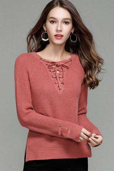 Knit Lace-Up Plunge V Long Sleeves Sweater In Watermelon Red