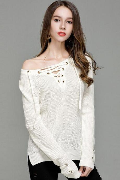 White Knitted Lace-Up Plunge V Long Sleeves Sweater Featuring High Low Hem and Slits