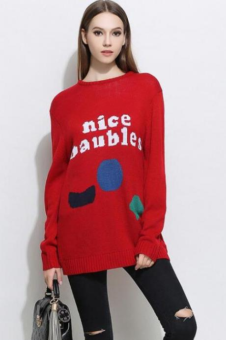Red Casual Christmas Knitting Pullover Sweater