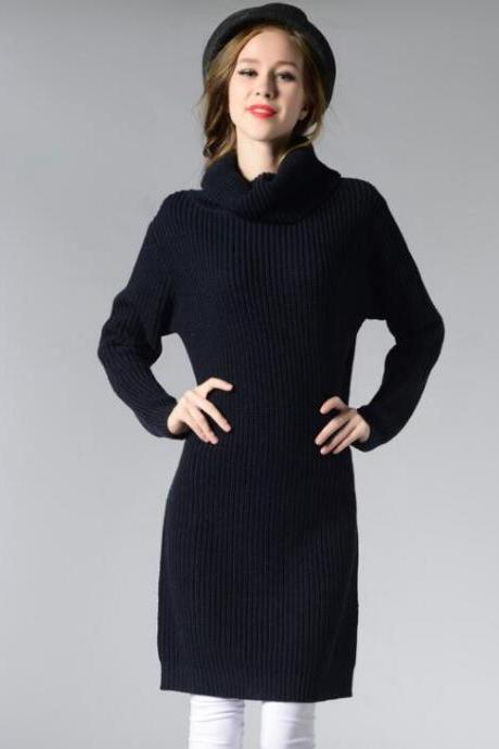 Black Knitted Turtleneck Long Sleeves Knee Length Sweater Dress