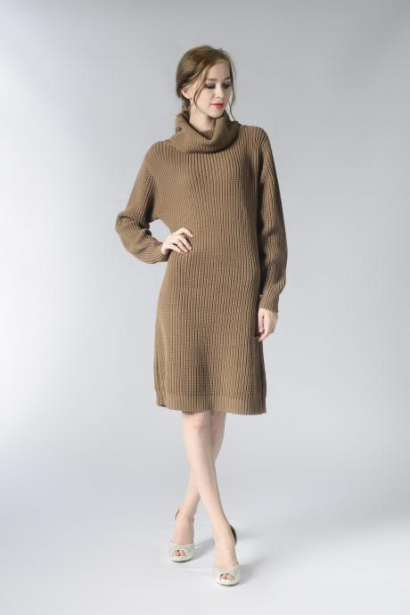 Knitted Turtleneck Long Sleeves Knee Length Sweater Dress in Khak