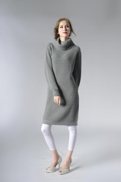 Turtleneck Knitting Pullover Long Sweater - Grey